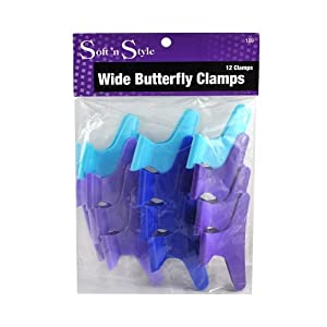 """Butterfly Clamps 1-dozen * Size: Large 3"""" * Assorted Colors"""