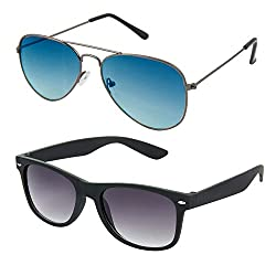 Rhodopsin UV Protected Ocean Blue Aviator and Black Wayfarer Sunglasses (Combo_Ocean_Blue_Aviator_Black_Wayfarer)