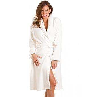 Camille Womens Ladies Luxury White Soft Fleece Bath Robe 18/20 at