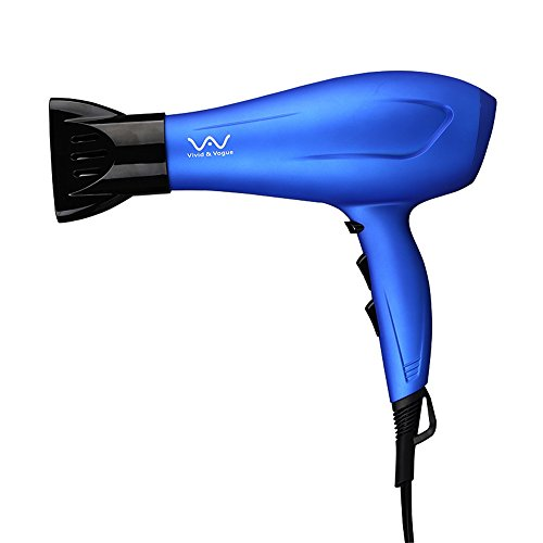VAV Blow Dryer 1875W Negative Iron Professional Hair Dryer 2 Speed 3 Heat Settings Cool shot Button Including Concentrator DC Motor (Blue) (Best Blow Dryers compare prices)