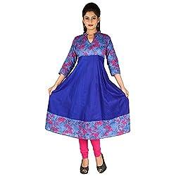 AnjuShree Choice Women's Cotton Denim Pink Anarkali Kurta Kurti (Medium)