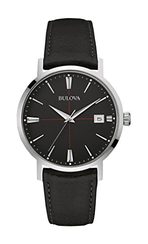 Bulova Classic Areojet Men's Quartz Watch with Black Dial Analogue Display and Black Leather Strap 96B243