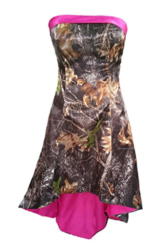 Prom Style Camouflage Strapless Prom Dresses Homecoming Fuchsia Gowns Short US 16