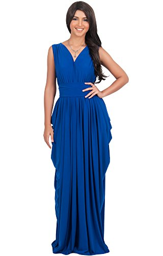 KOH KOH Plus Size Womens Long Sleeveless Sexy Bridesmaid V-Neck Gown Summer Flowy Maxi Dress, Color Cobalt / Royal Blue, Size 3X Large / 3XL / 22-24 (Cobalt Blue Bridesmaid Dresses compare prices)