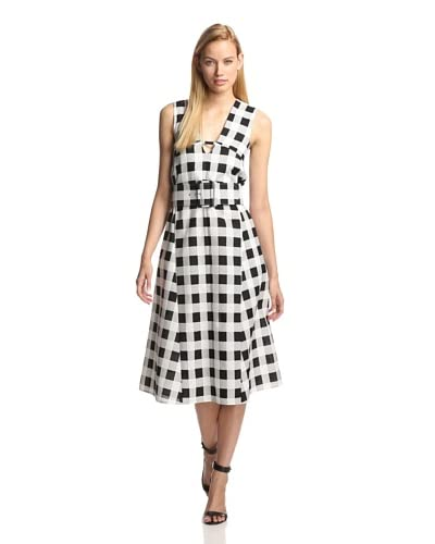 Derek Lam Women's Plaid Faille V-Neck Dress