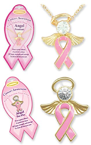 Pink Angel Pin and Necklace set/Breast Cancer Awareness/Fundraiser/Toys/Jewelry