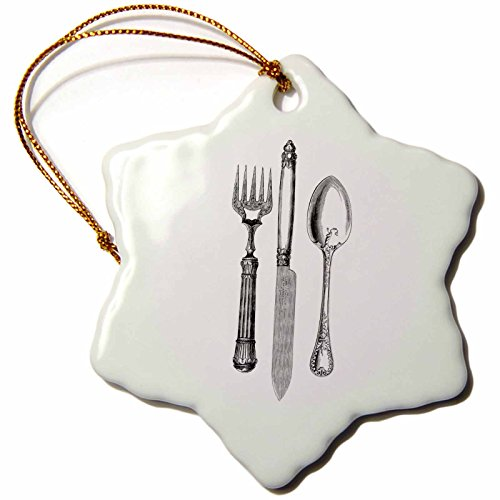 """3dRose LLC orn_161556_1 Porcelain Snowflake Ornament, 3-Inch, """"Black and White Vintage Cutlery Set-Fork Knife and Spoon-Restaurant Kitchen Chef"""""""