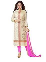 Off White and Light Pink Colour Cotton Embroidered Salwar Suit Dress Material