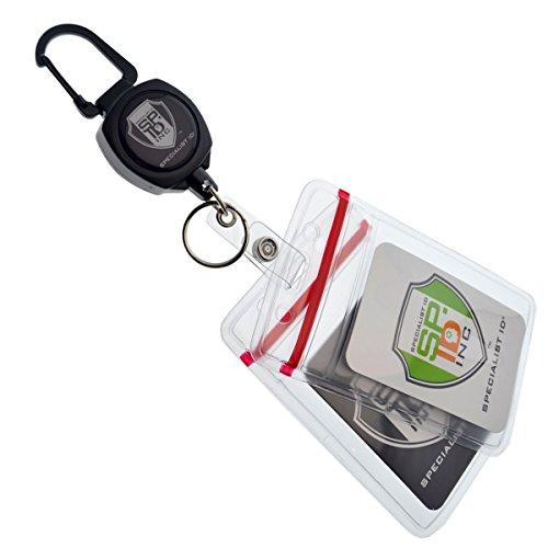 Specialist ID Heavy Duty Custom Sidekick Carabiner Badge Reel with Two (2) Ziplock ID Badge Holders and Keychain (Vertical - Vinyl Ziplock Holders) (Metro Plastic Split Sleeves compare prices)