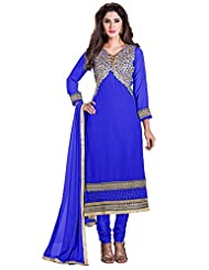 Blue Manvaa Embroidered Suit With V-Neck And Party Wear