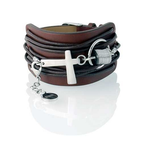 Storm Stainless Steel Ox Cuff Brown of Length 25 cm