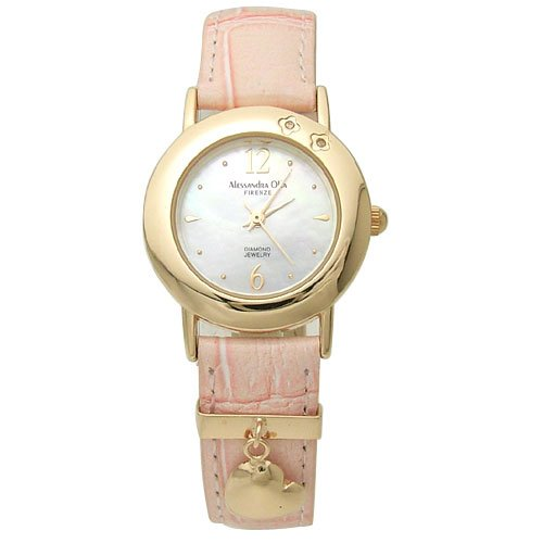 Alessandra Olla (アレサンドラオーラ) 腕時計 シェル文字盤 ハートチャーム付き AO-630-PGPK レディース
