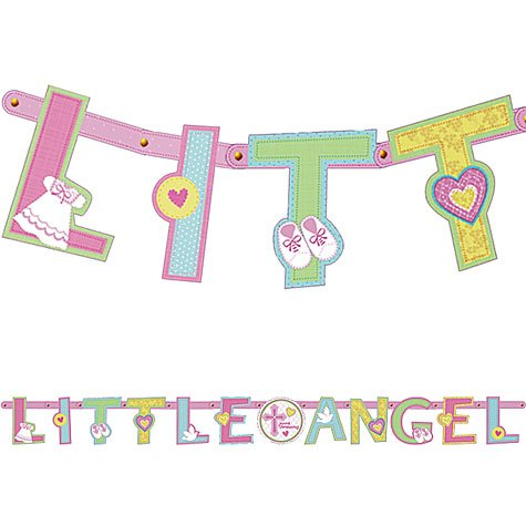 Sweet Christening Pink Customized Letter Banner