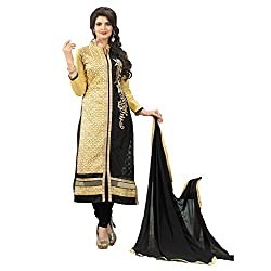 M Fab Embroidered Yellow Cotton Un Stitched Dress Material