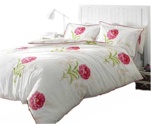Charlotte Thomas 230 cm x 218 cm Peony Printed and Piped Quilt Cover, King Size