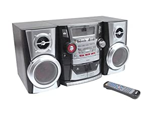 GPX HM3034 30-Watt Stereo System with 3-Disc CD Player, AM/FM Tuner, and Dual Cassette Deck