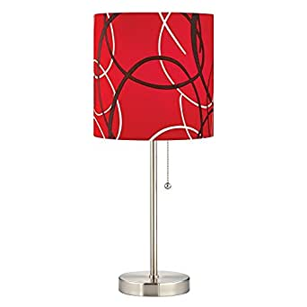 satin nickel pull chain table lamp with red pattern drum shade. Black Bedroom Furniture Sets. Home Design Ideas