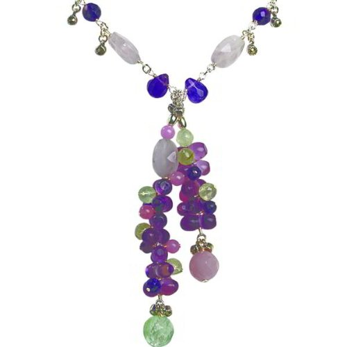 Sterling Silver Multi Gemstone Necklace 16