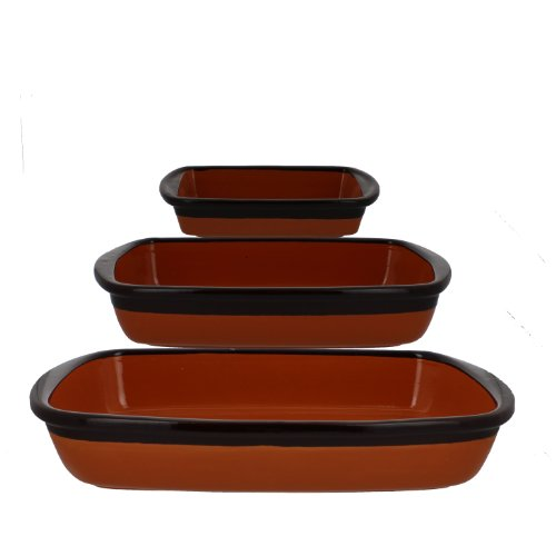 Coli Bakeware CL-REC-SET3-TAN Italian Ceramic 3-Piece Rectangular Baker Set, Tosca