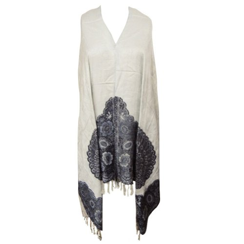 Handmade Shawl Peacock Pattern Wool Blend Stole Women White Scarf Winter Gift