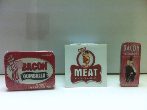 MEAT MANIAC Bacon Lovers Combo Gift Pack with Sticker- Bacon Gumballs & Bacon Toothpicks