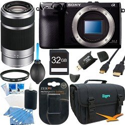 Sony NEX-7 NEX7 NEX7KB NEX7K 24.3 MP Compact Interchangeable Lens Camera Body with Sony SEL 55-210 Lens BUNDLE with Sony 32GB SD Card, UV filter, Spare Battery, SD Card Reader, Deluxe Case + More!