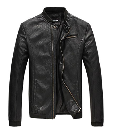 Mooncolour Mens Zip Chest Pocket Faux Leather Moto Jacket