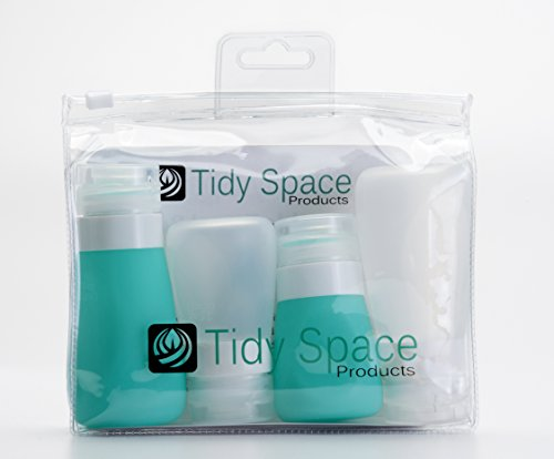 Travel Bottles - 2 2oz and 2 3oz Travel Size Bottles Teal and Clear Silicone in TSA Approved Toiletry Bag. Tidy Space Products Travel Containers are for Travel Size Toiletries as Air Travel Accessories