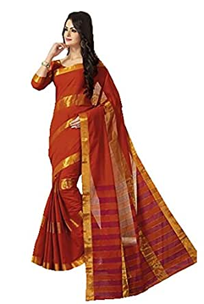 Ishin Cotton Orange Solid Saree available at Amazon for Rs.3249