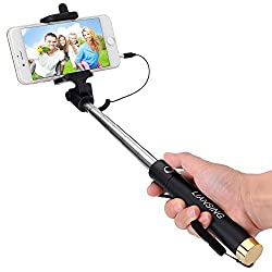 Selfie Stick,LIANSING compact One-piece U-Shape Cable Control Extendable Wired Self-portrait Monopod with Remote Shutter for iPhone5/5S/6/6S Samsung all other Android Smartphone,easy to carry-Gold