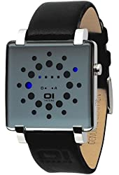 01TheOne Men's GRQ116B1 Gamma Ray Square Blue LED Stainless Steel Watch