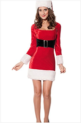 NuoReel Women's 2PC Mrs Santa Claus Dress Costume