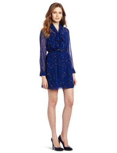 Kensie Women's Painted Dots Dress, Blue Combo,