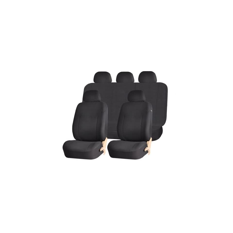 Elegant Style 186 Solid Black Complete Airbag Compatible Seat Covers Set Universal