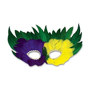 Rhode Island Novelty Mardi Gras Feather Mask (12 per order)