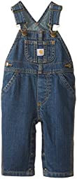 Carhartt Boys\' Washed Denim Bib Overall, Worn In Blue, 3 Months