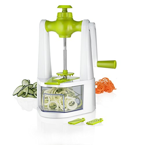3-in-1 Vegetable Spiralizer - Ribbon, thin and Thick Julienne Vegetable Slicer With 3 Interchangeable Stainless Steel Blades- Non-Skid Base -