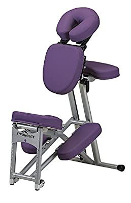 Stronglite Ergo Pro II - Version 2 Portable Massage Chair Package in Purple w 3 D.V.D Medical Massage Video Series