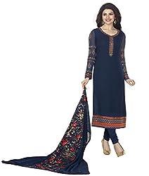 Navy Blue Coloured Georgette Designer Embroidered Salwar Suit