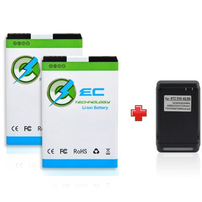 EC TECHNOLOGY® High Quality 2 x 1700mAh Li-ion Battery For Sprint HTC EVO 4G, EVO Shift 4G, Droid Incredible, HTC Touch Pro2, Touch Pro 2, Snap, HTC Tilt 2, HTC Dash 3G, HTC Imagio XV6975, Fits A9292