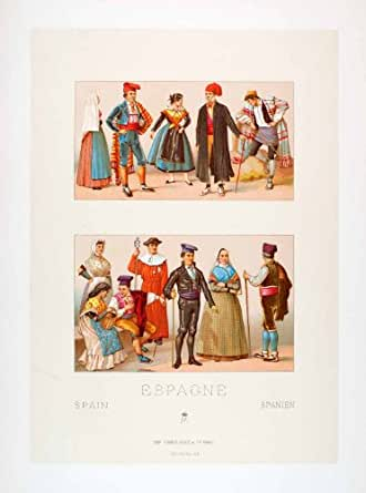 Chromolithograph Folk Costume Spain Catalan Aragon Traditional Gorro