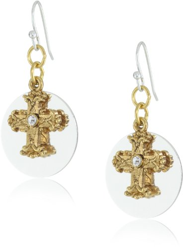 The Vatican Library Collection Silver-Tone and Gold-Tone Crystal Cross Round Earrings