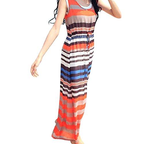 Ladies Women Sleeveless Chiffon Print Sexy Two-Piece Long Dress Size L