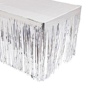 Party902 - Silver Fringe Table Skirt - Size: 9 ft x 29 in