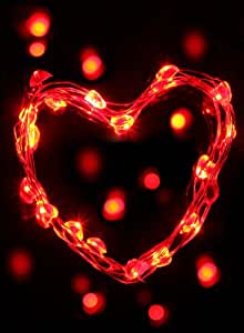 Lightshare™ Discount (4 pieces one packed)20 LED Micro led string lights Battery Operated, Copper Wire, Red Heart