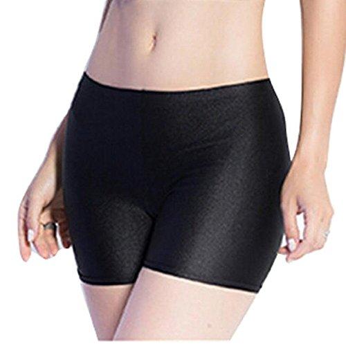 Sharondar Moda Donne piatto Tiered Pantaloni corti Sotto pantaloni di sicurezza shorts Intimo (Unica, nero)