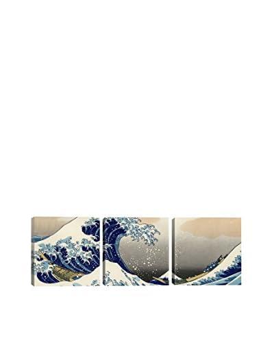 Katsushika Hokusai The Great Wave At Kanagawa (Panoramic) 3-Piece Canvas Print