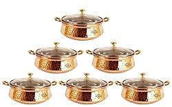IndianArtVilla 5.0 X 7.8 X 3.2 Handmade High Quality Stainless Steel Copper Casserole Dish Serving Indian Food Daal Curry Set of 6 Handi Bowl With Glass Tumbler Lid Capacity 1250 ML for use RestaurantGift Item