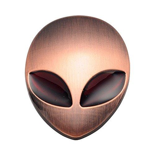 AUMO-mate 3D Autocollant Emblème adhésif métal Aliens Crâne Logo Chromé Badge Décor pour Voiture Auto Moto Camion-Rouge