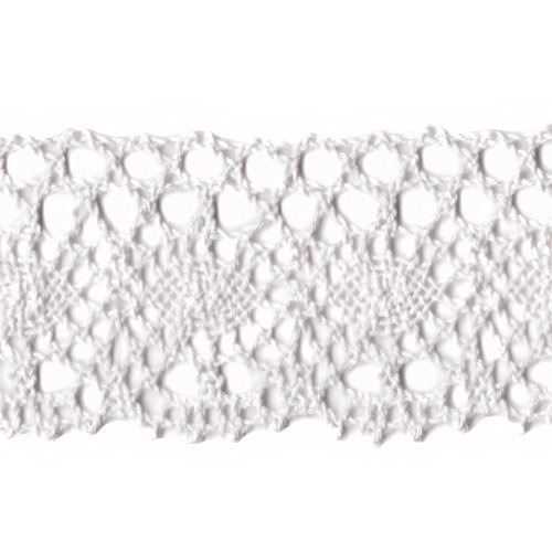 Venus Ribbon 2-Inch Cotton Cluny Lace, White